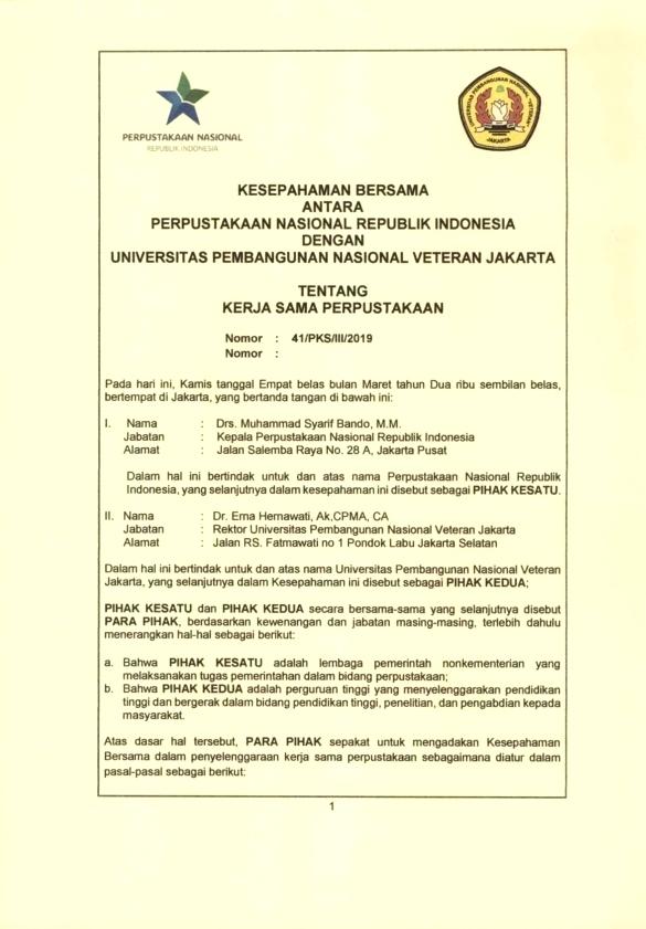 "Kerjasama Perpustakaan Nasional Republik Indonesia dengan UPN ""Veteran"" Jakarta tentang Perpustakaan"